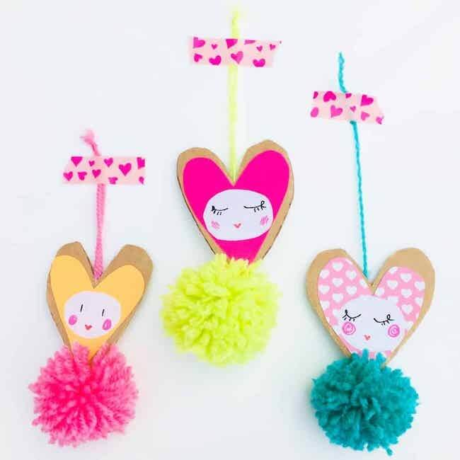 pom pom heart tags valentine craft idea