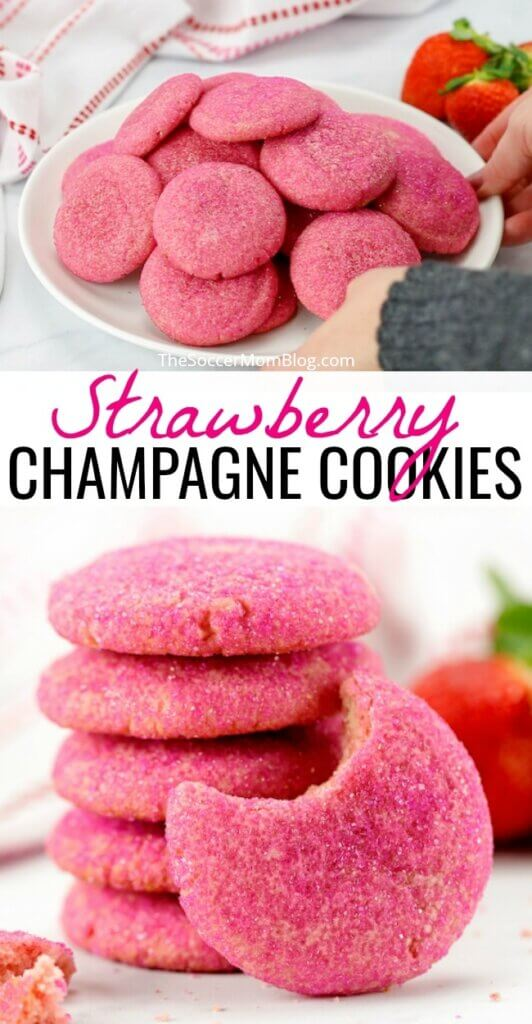 These soft, fluffy strawberry champagne cookies are both gorgeous and delicious! We've infused sweet strawberry and champagne flavor right into the dough!