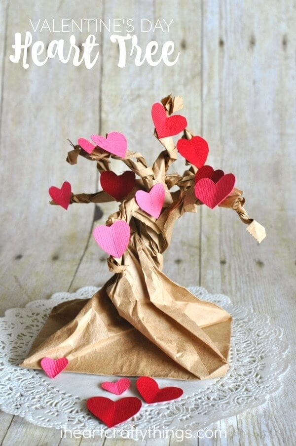 heart tree made with paper bag