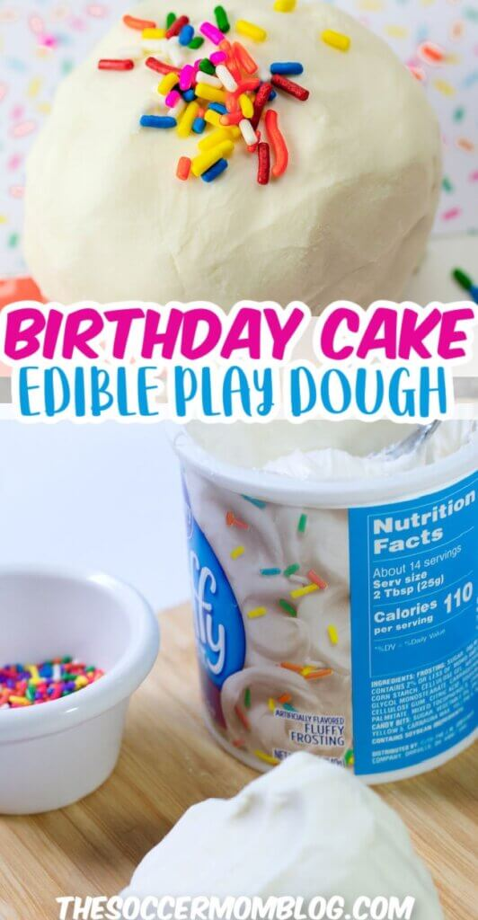 edible birthday cake play dough made with frosting
