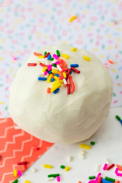 ball of homemade frosting play dough