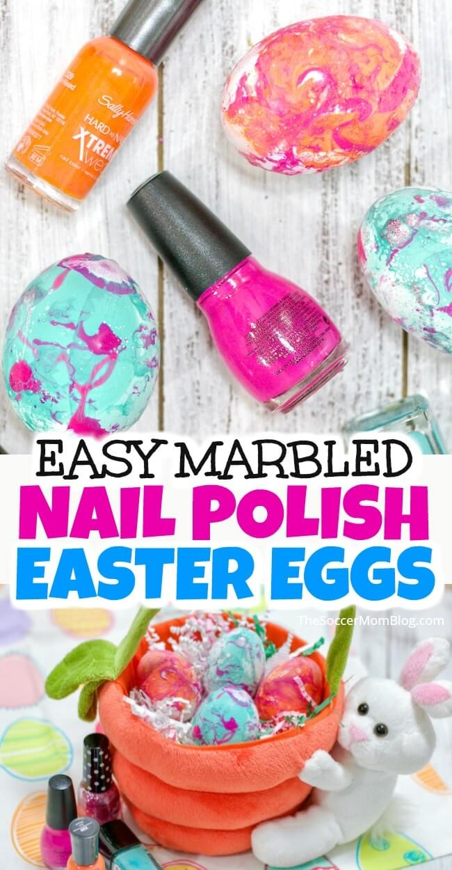 These Marble Easter Eggs are super bright and vibrantly colorful and incredibly easy to make with nail polish!