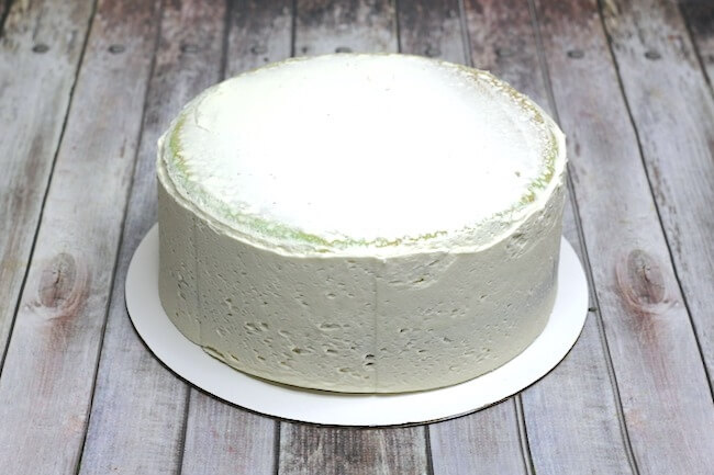 Mint layer cake with vanilla frosting.