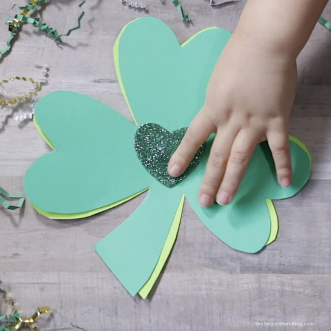 easy kid made shamrock card for St. Patrick's Day