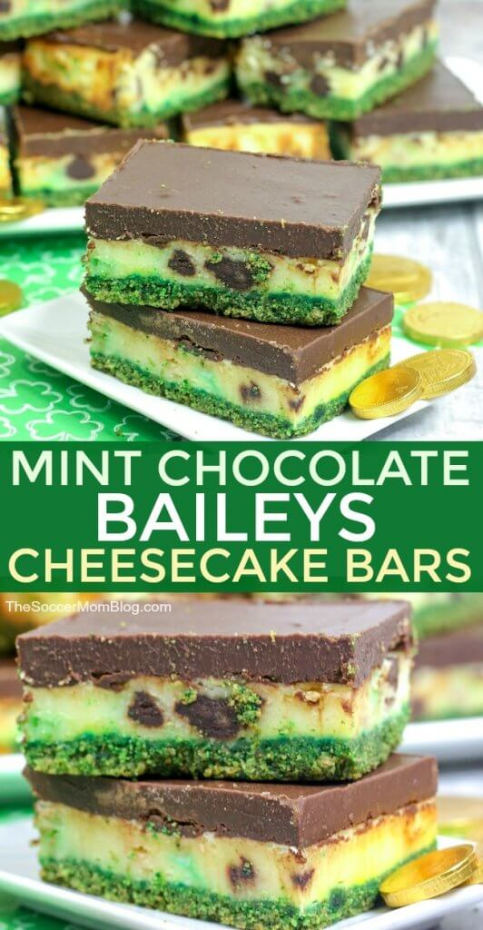 These Mint ChocolateBaileys Cheesecake Bars are delicious and festive! One of our favorite St. Patrick's Day desserts!