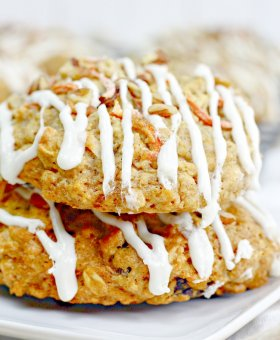 Carrot Cake Cookies with Cream Cheese Frosting (Thick & Chewy!)
