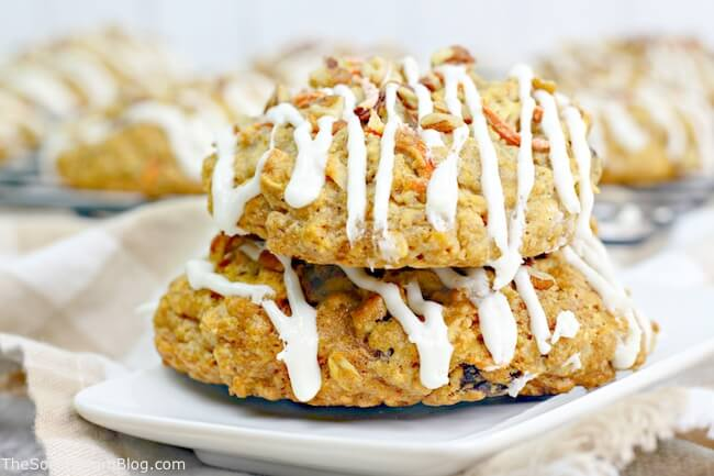 These super soft Carrot Cake Cookies with Cream Cheese Icing are a little bite of heaven!