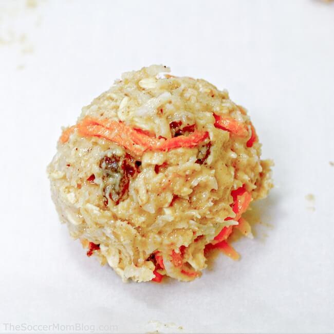 Carrot cake cookie batter on baking sheet