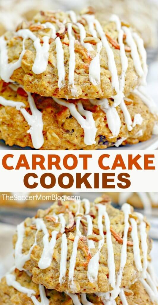 Super soft Carrot Cake Cookies with Cream Cheese Icing are a little bite of heaven! You'll love this Carrot Cake Cookie recipe for BIG, soft cookies!