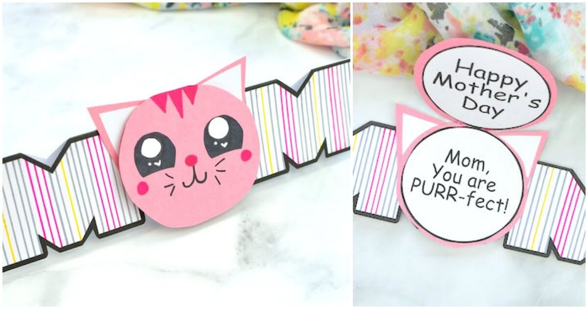 "Our Cat Mother's Day Card is literally the ""purr-fect"" kid-made surprise for Mom! Click for free printable template and video tutorial!"