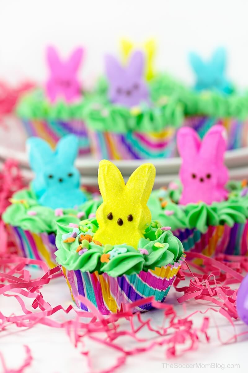 peeps cupcakes surrounded by Easter grass