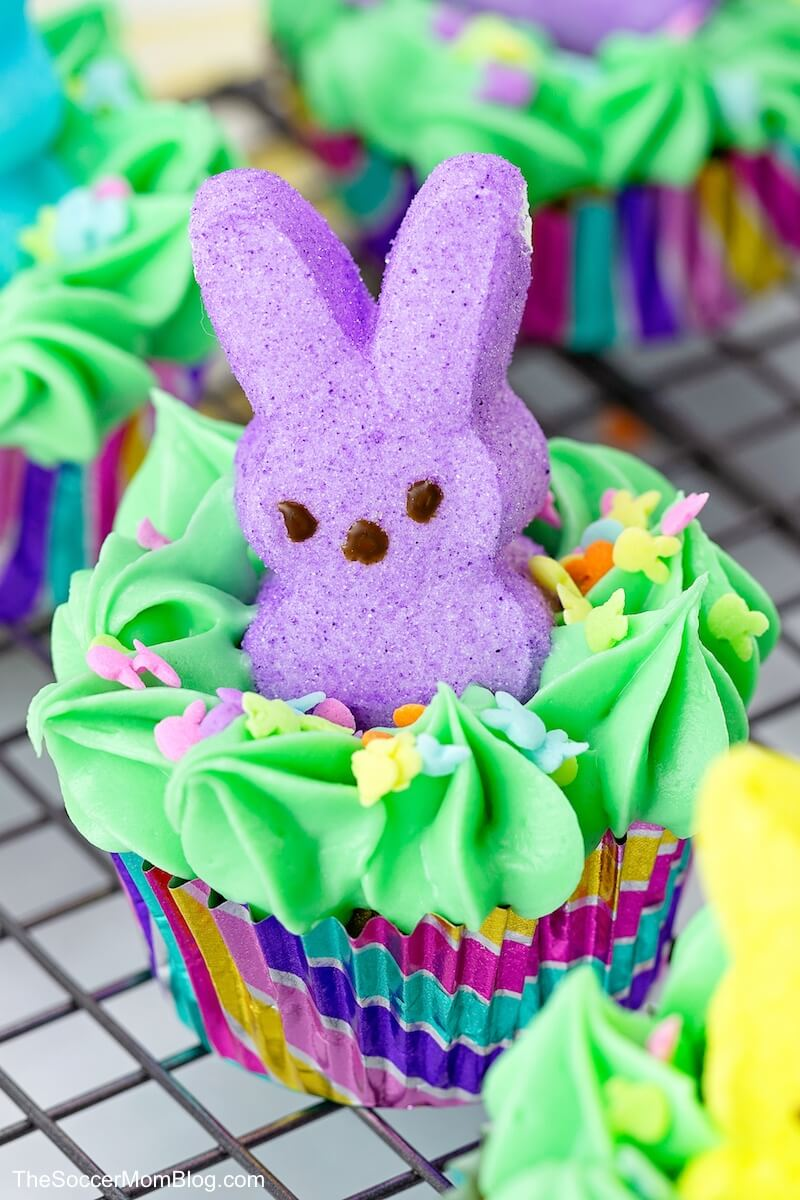 Easter Cupcakes with Peeps Bunny Candy