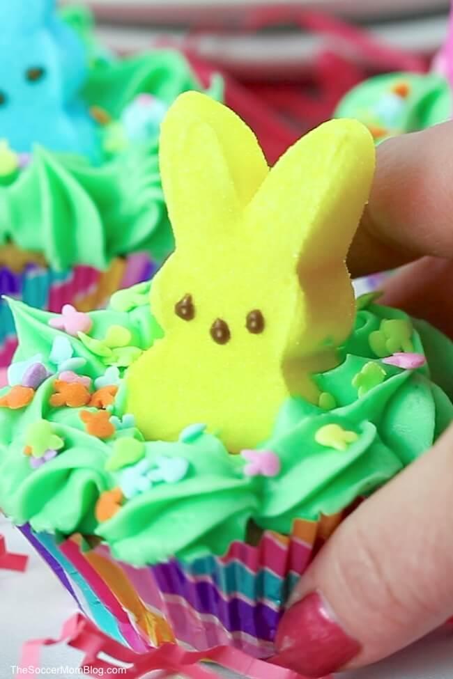 """Peek-a-Boo"" PEEPS Bunny Cupcakes"