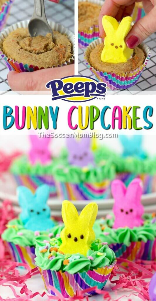 "Cute & colorful Peeps Bunny Cupcakes are the perfect Easter party dessert! Kids will go wild for these bright bunnies ""peeping"" out of the frosting!"