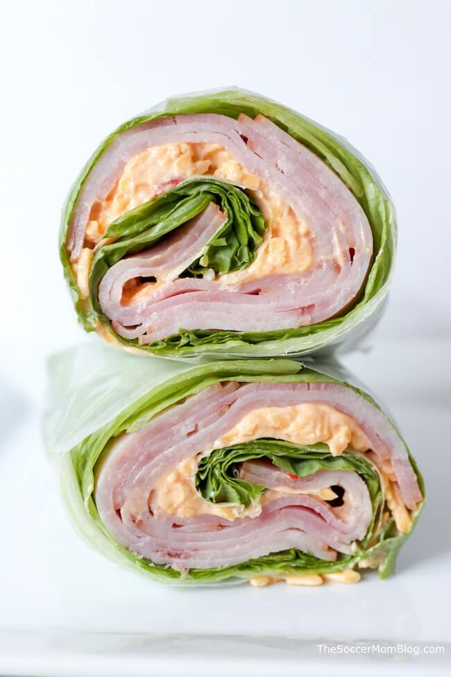 Crisp lettuce, sweet honey ham, and creamy pimento cheese — these Keto Ham and Pimento Cheese Wraps are the perfect fresh and easy lunch for spring and summer!