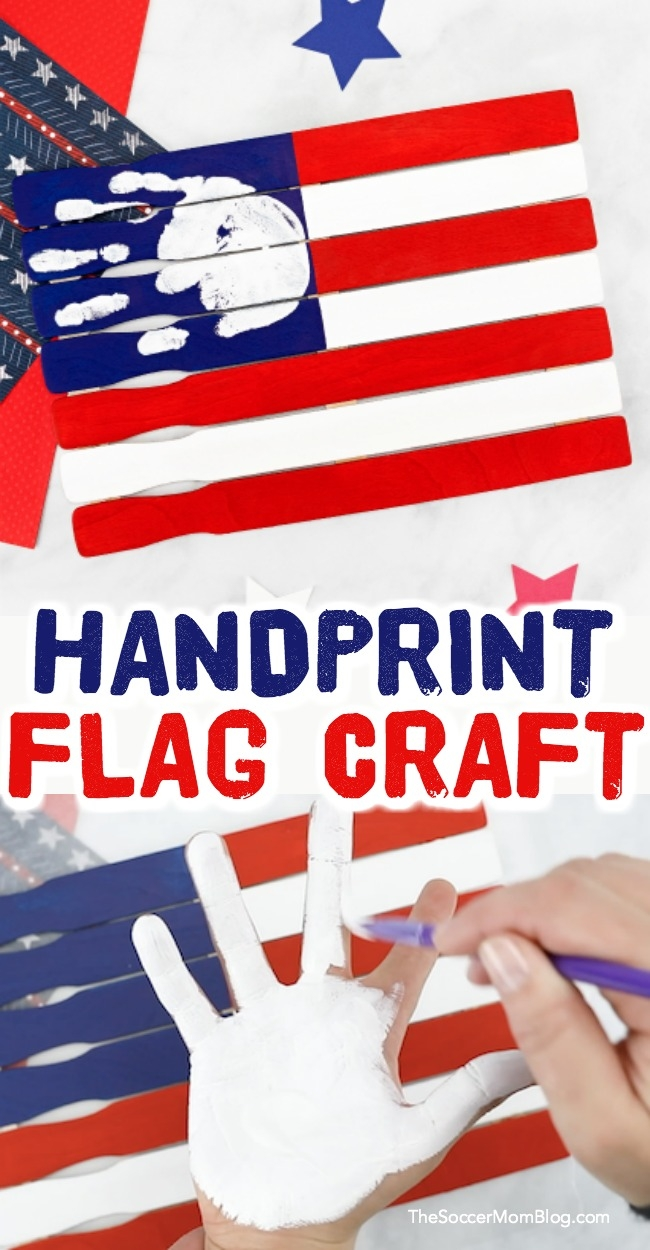 This American Flag Handprint Craft for Preschoolers is such a cute patriotic keepsake made using paint sticks!