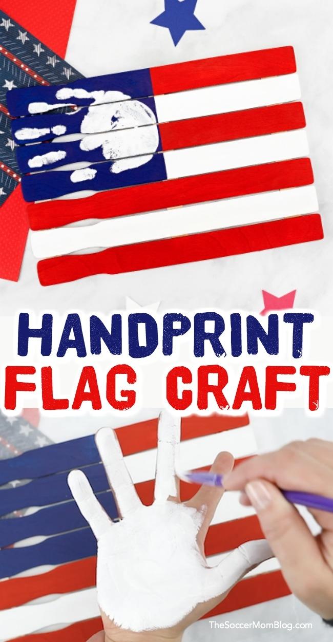 ThisAmerican Flag Handprint Craft for Preschoolers is such a cute patriotic keepsake made using paint sticks!