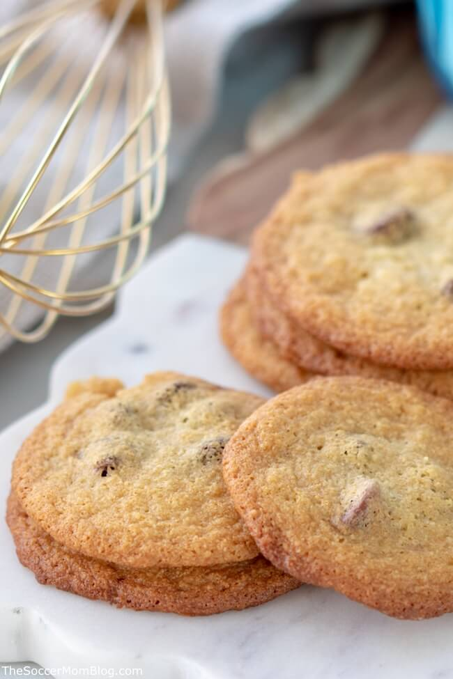 Hands-down the BEST Keto Chocolate Chip Cookies I've ever tasted! Easy to make, absolutely delicious, and only 2g net carbs per cookie!