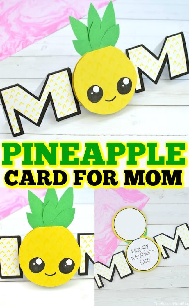 A sunny and sweet Pineapple Card that's perfect for Mother's Day, birthdays, and more! Click for video and photo step by step DIY pineapple craft tutorial!