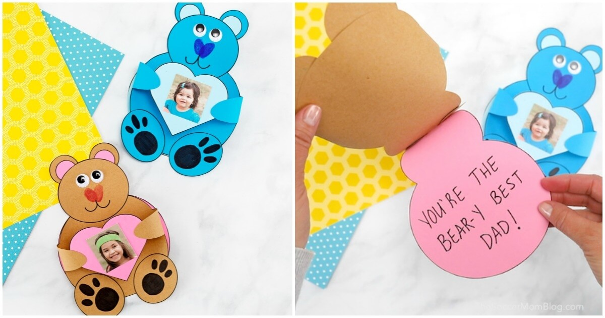 Adorable kid-made Teddy Bear Card! This 3D paper bear craft holds a child's photo and opens to reveal a sweet message inside. Free printable pattern!