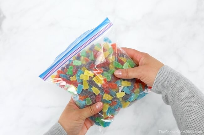 homemade gummy bears in a bag