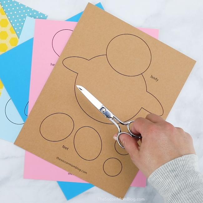 printable pattern to make a teddy bear card