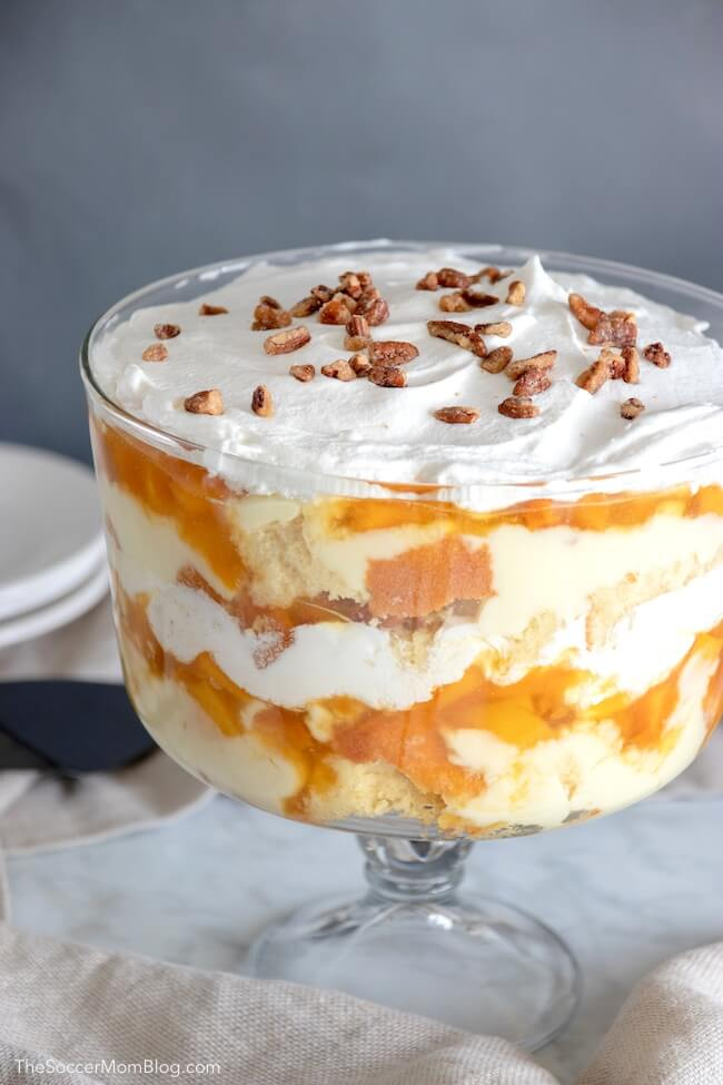 Peaches & Cream Trifle - Easy No Bake Dessert