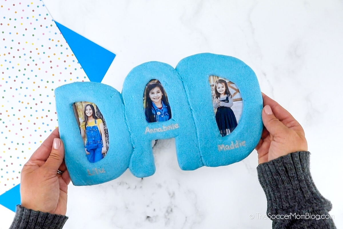 homemade Father's Day salt dough picture frame craft