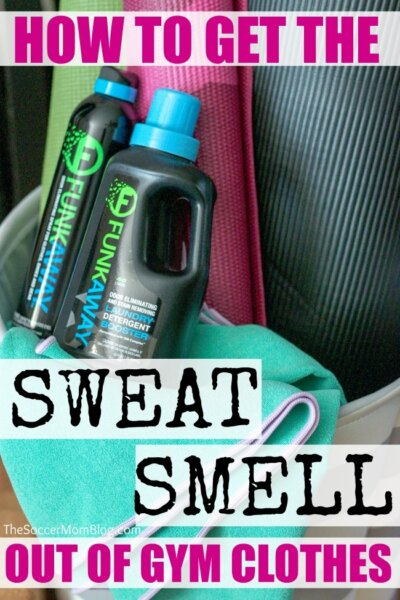 How to get the smell out of workout clothes when NOTHING seems to work! 3 easy steps to get sweat smell out of of gym clothes and yoga gear.