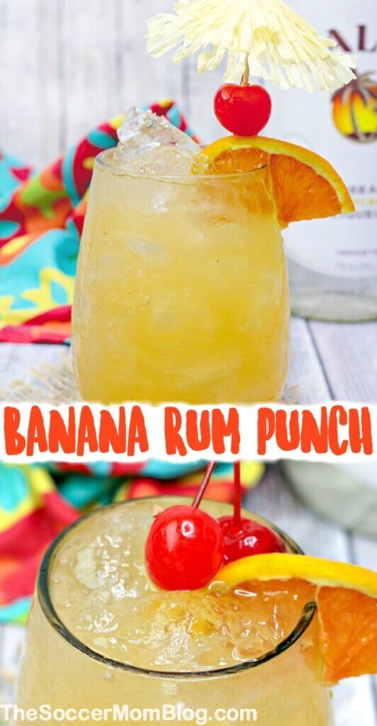 Head to the beach (even if only in your mind) with this smooth & fruity banana rum punch recipe! Ready in minutes! Looks like a gorgeous sunset in a glass!