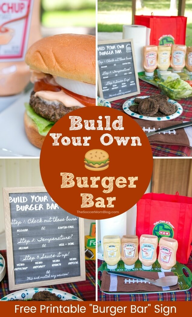 Create the ultimate tailgate with this handy guide to build your own burger bar, plus free printable chalkboard signs!