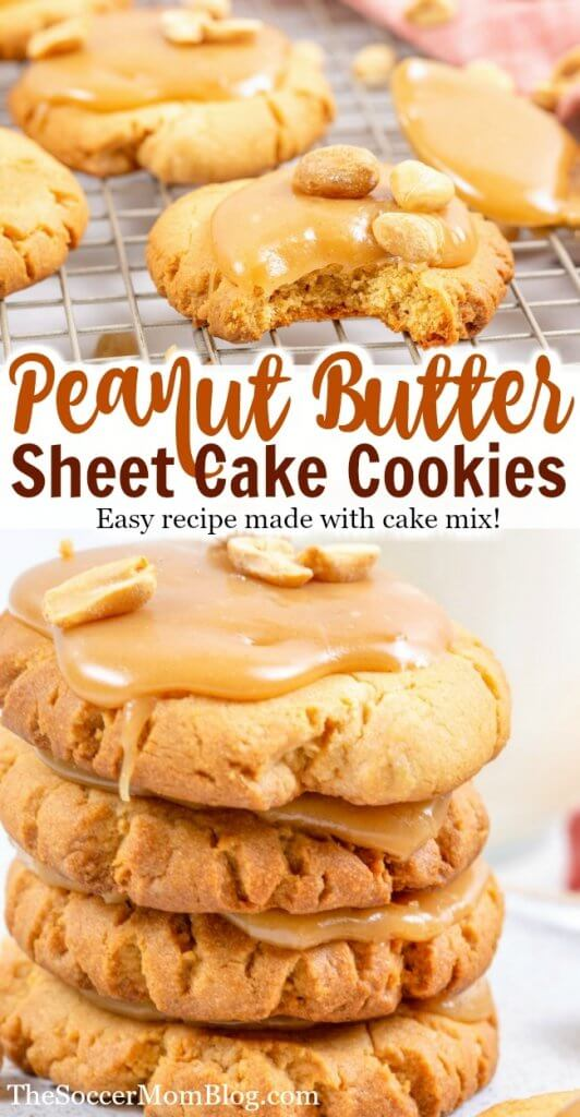 Peanut butter fans rejoice! These Peanut Butter Texas Sheet Cake cookies are the ultimate peanut butter cookie recipe! Made with cake mix, they're extra thick and fluffy...and super easy!