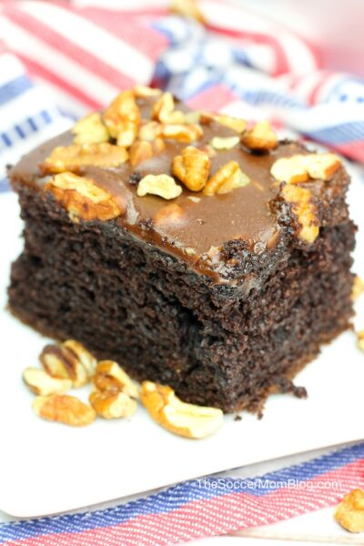 Extra thick and fluffy Texas Sheet Cake is a delicious twist on the classic chocolate lovers dessert!