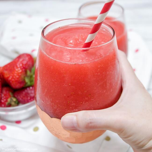 Frosé (aka Frozen Rosé Slush) is a refreshing combination of rosé wine and sweet strawberries. So easy, so delicious!