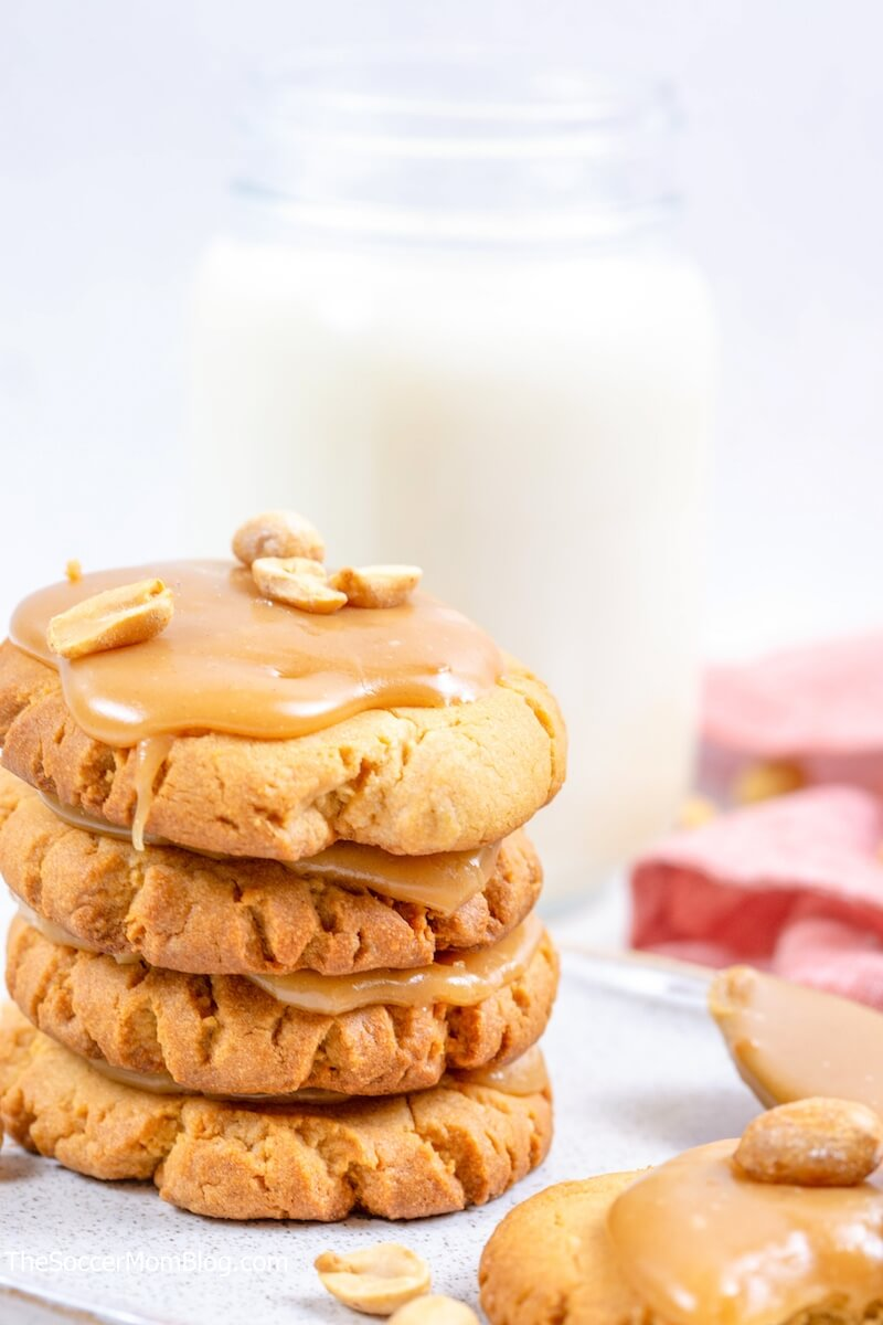 stack of peanut butter cookies with warm icing