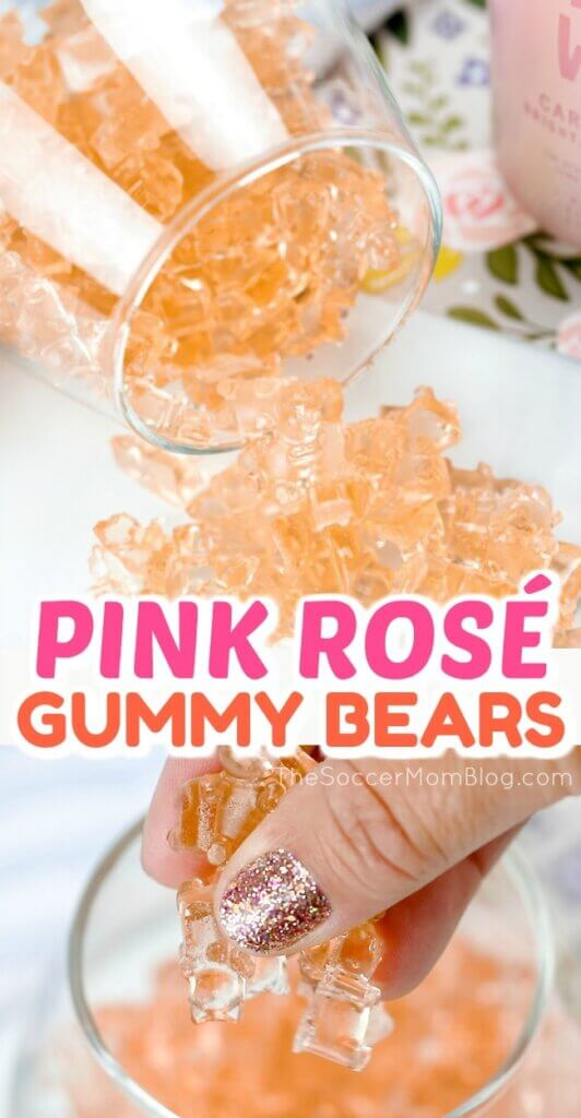 Rosé gummy bears might just be the cutest thing ever!! Such a fun way to enjoy your favorite bubbly - click for easy video recipe!
