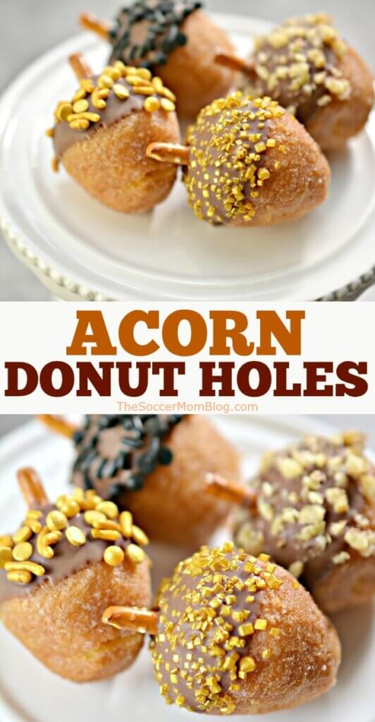 donut holes decorated to look like acorns