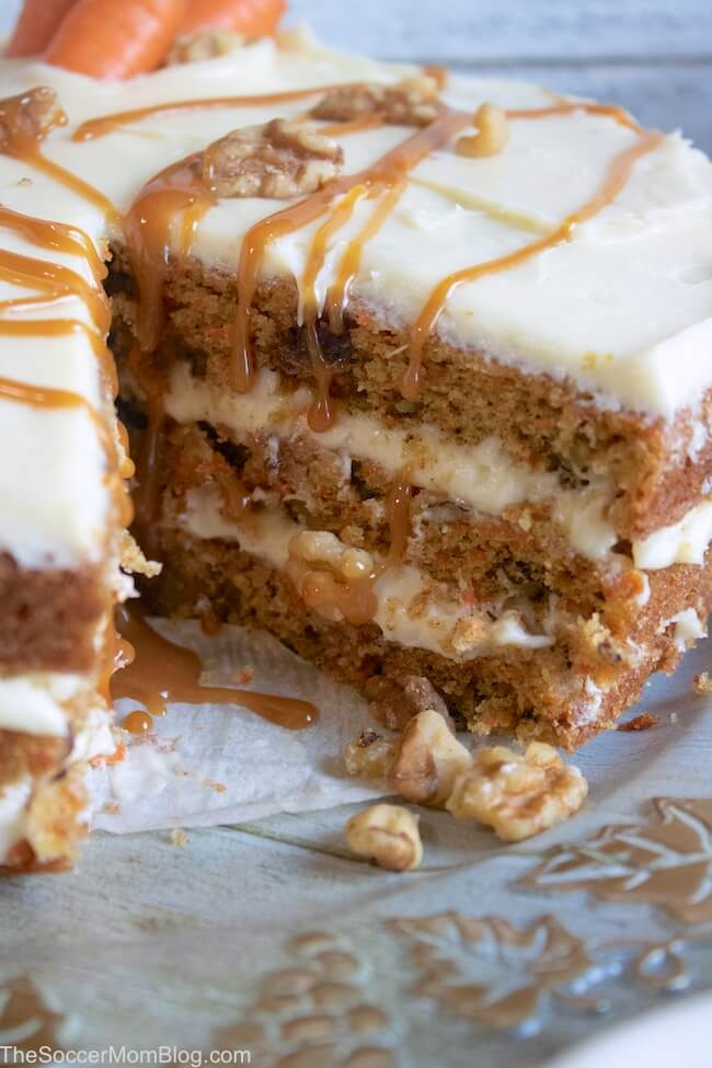 carrot cake with a slice missing