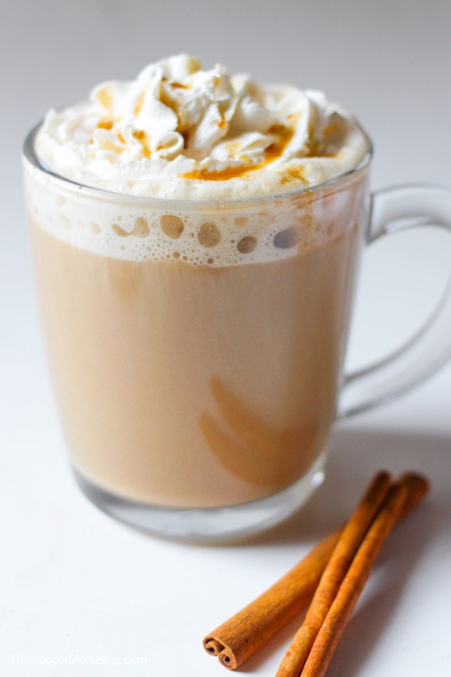 close up of cinnamon dolce latte in clear glass mug