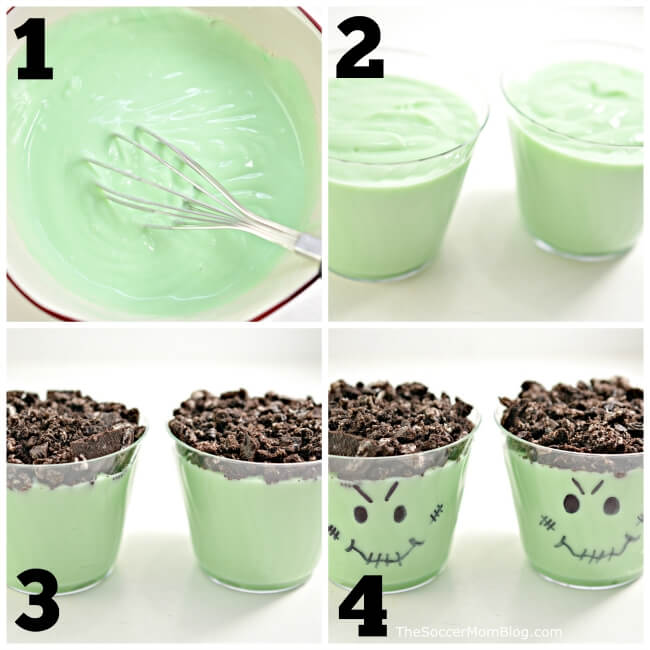 photo collage showing how to make Frankenstein pudding cups for Halloween
