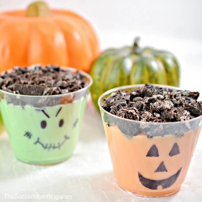 decorated pudding cups for Halloween
