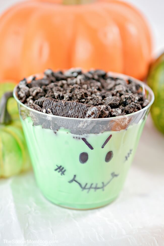 close up of Frankenstein decorated pudding cup