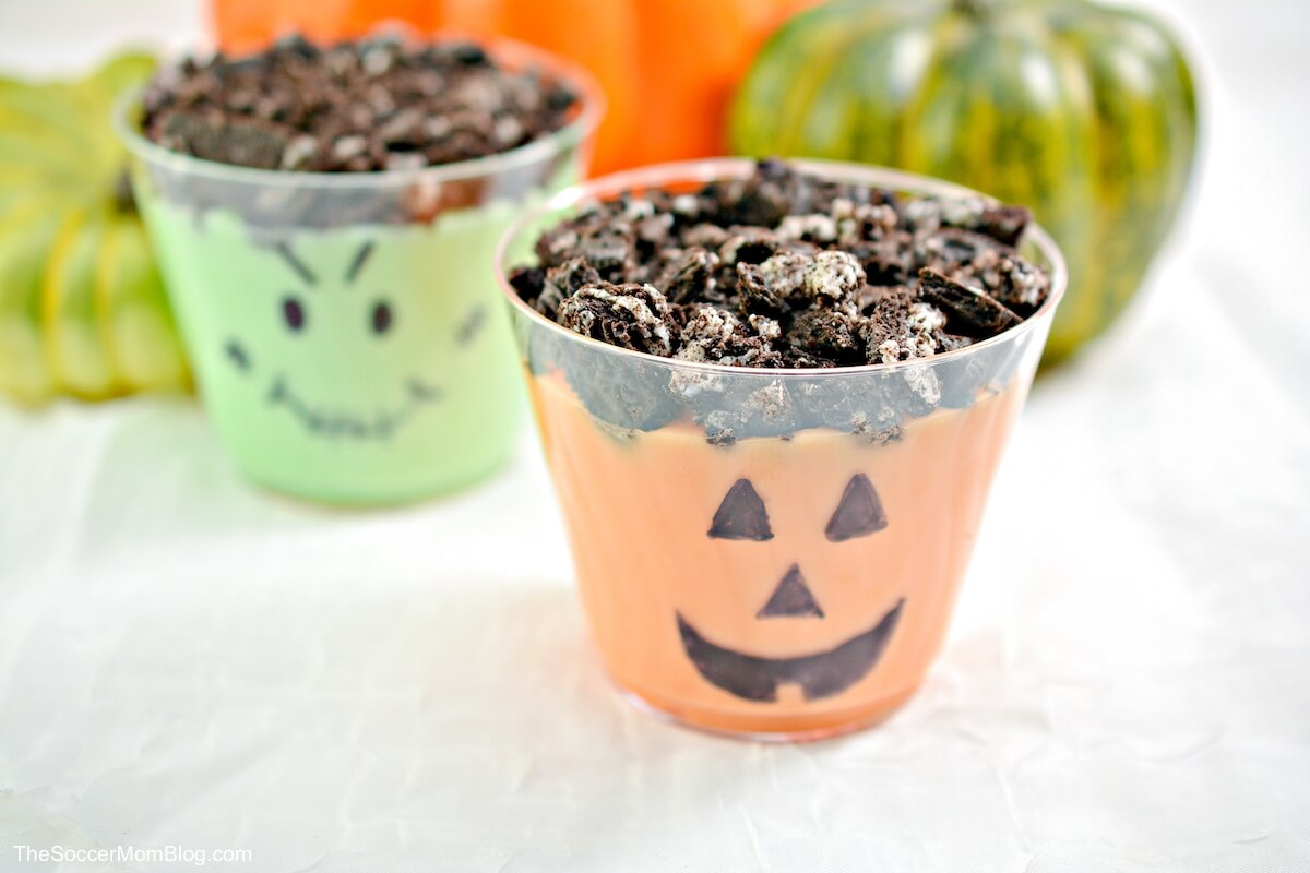 pumpkin pudding cup and Frankenstein pudding cup
