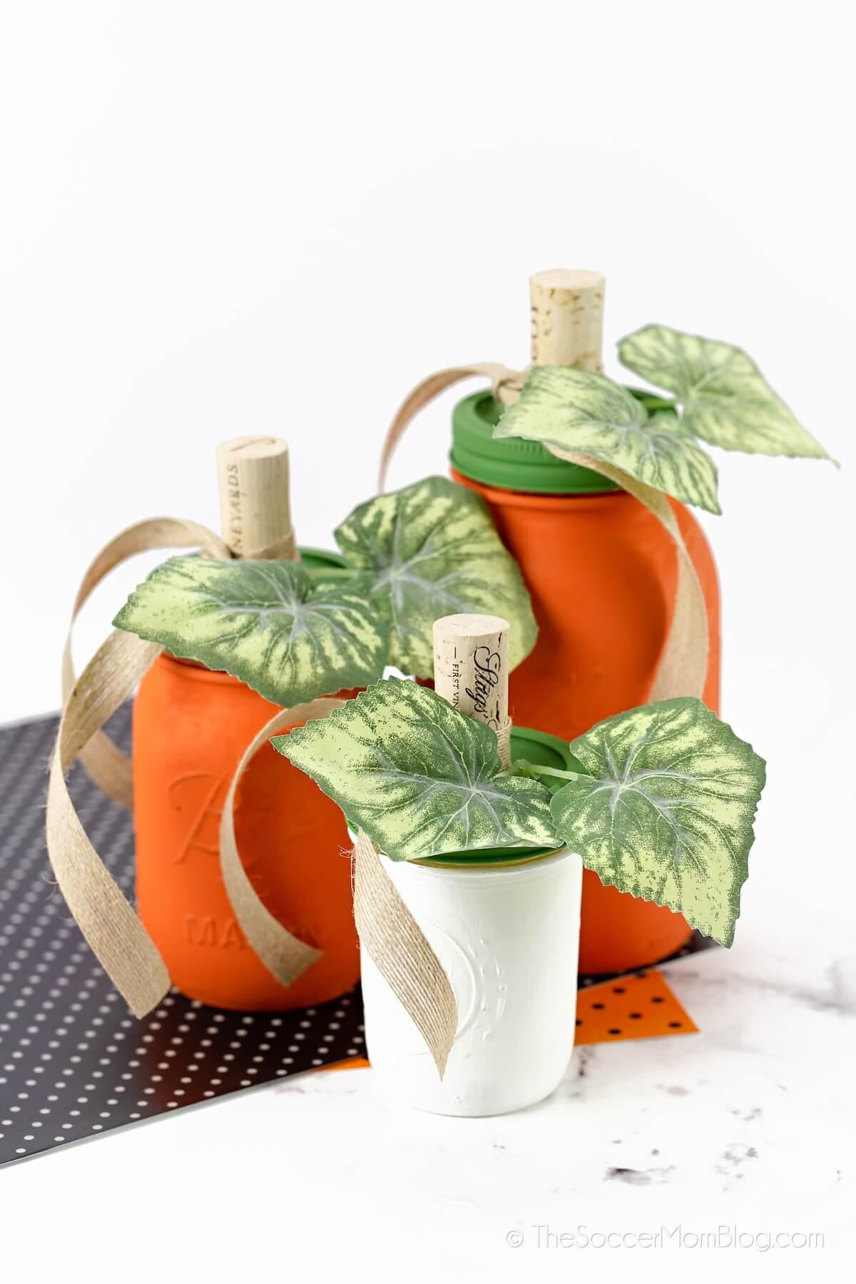 painted mason jar pumpkins