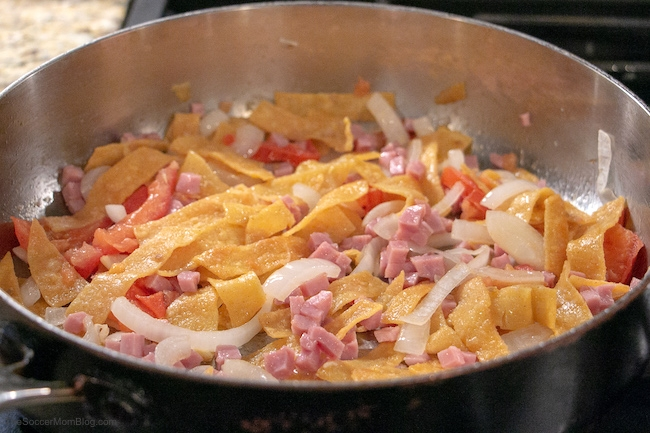 cooking migas on stove