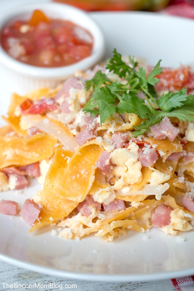 This easy Migas recipe is ready in 10 minutes or less! It's the perfect hearty Tex-Mex breakfast for busy mornings!