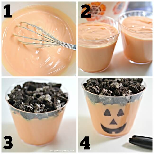 photo collage showing how to make Jack-o-lantern dirt pudding cups