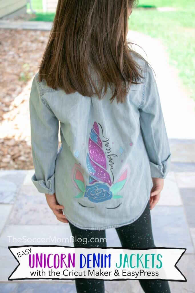 How to use a Cricut Maker and Cricut EasyPress as a total beginner, plus our very first project just in time for back to school - custom unicorn jean jackets!