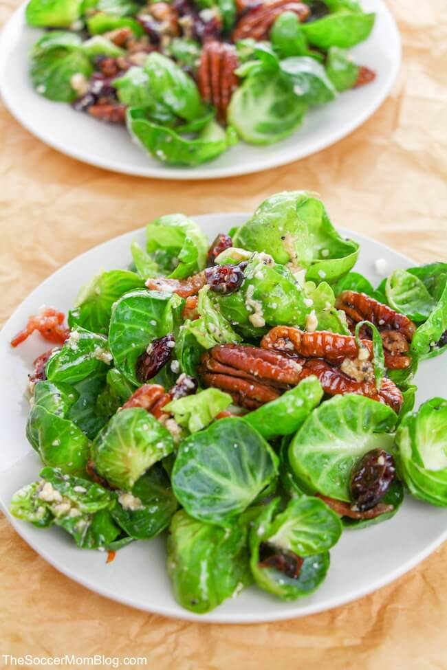 Fresh, crispy, sweet, and savory, this Brussels Sprout Salad with Bacon is miles above other salads! And the sweet Poppyseed Vinaigrette is absolutely amazing! The best part is that you can whip up this delicious bacon and Brussel sprout salad in just a few minutes!