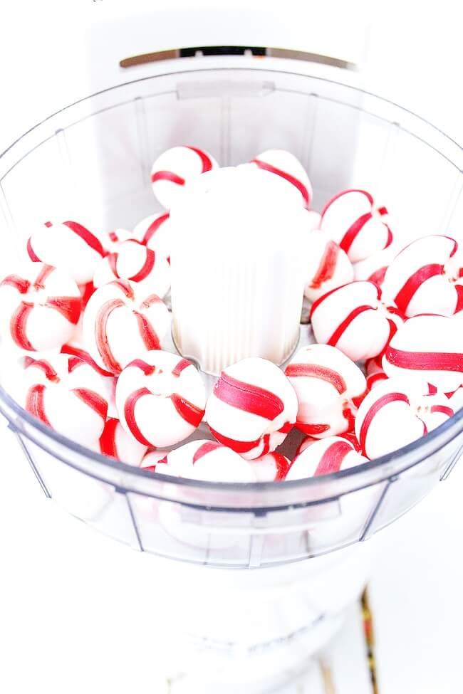 peppermints in food processor